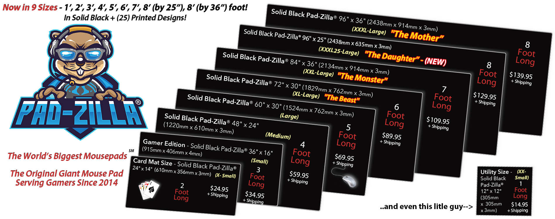 Solid Black - Brand-Free - Giant Pad-Zilla® Giant Mouse Pads & Desk Mats - Order Now!